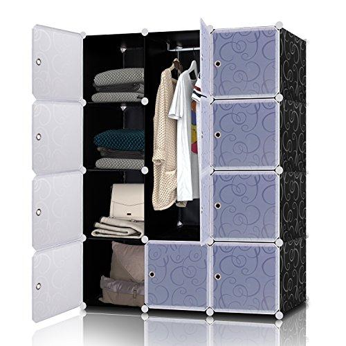 Lifewit 12 cubi modulare armadio armadietto guardaroba scaffale mobiletto in plastica fai da te organizzatore colore bianco e nero