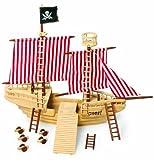 Piratenschiff aus Massivholz, mit allerlei Zubehör, enorme Größe bietet ein Maximum an Platz zum Spielen, ob an Deck, auf dem Aussichtsturm oder hinter dem Steuerrad