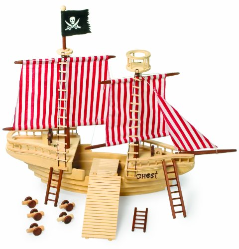 Piratenschiff aus Massivholz, mit 6 köpfiger Piraten-Crew und allerlei Zubehör, enorme Größe bietet ein Maximum an Platz zum Spielen, ob an Deck, auf dem Aussichtsturm oder hinter dem Steuerrad (Crew Pearl Black)