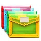 (Confezione da 4) in plastica trasparente in formato A4portadocumenti cartella sospesa Premium Poly busta con porta biglietti da visita