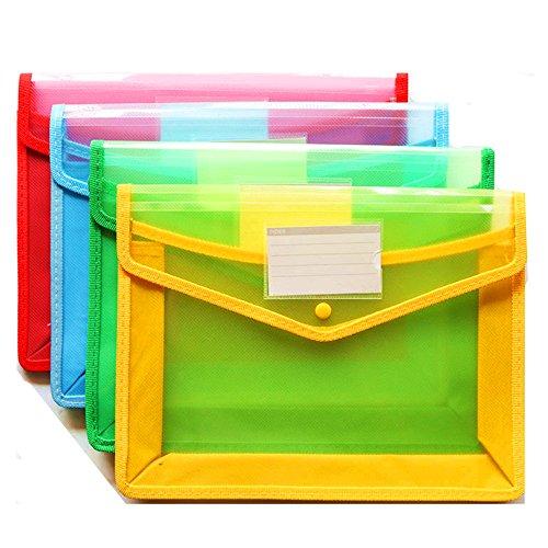 (4er Pack) durchsichtigen Kunststoff Brieftasche A4 hängende Datei Ordner Dokument Ordner Premium Poly Umschlag mit Visitenkartenhalter (Hängende Ordner Dateien)