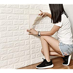 DODOING 3D Brick Muster Tapete, 3D Ziegelstein Tapete Wandaufkleber Wandtattoo Papier Abnehmbare Selbstklebend Tapeten für Schlafzimmer Wohnzimmer Moderne Hintergrund TV-Decor(10 Stück, Weiß)