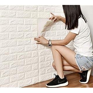 DODOING 3D Brick Muster Tapete, 3D Ziegelstein Tapete Wandaufkleber Wandtattoo Papier Abnehmbare Selbstklebend Tapeten für Schlafzimmer Wohnzimmer Moderne Hintergrund TV-Decor(8 Stück, Weiß)