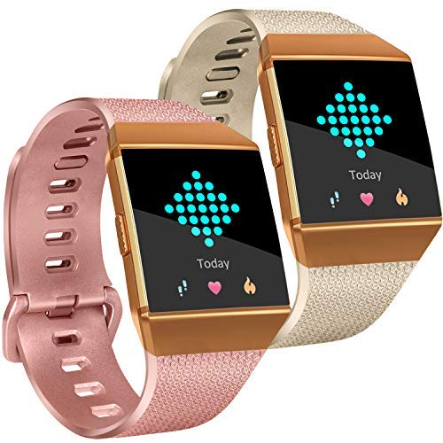 Tobfit für Fitbit Ionic Bands (2Pack), Weichem Silikon Classic Ersatz Armbänder Zubehör Sport Riemen für Fitbit Ionic Smart Watch Damen Herren, 01Champagne Gold+Rose Gold, Small