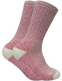 2 paires femme fantasie epaisse laine hiver chaudes chaussettes randonnée en 4 couleurs