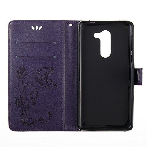 EKINHUI Case Cover Horizontale Folio Flip Stand Muster PU Leder Geldbörse Tasche Tasche mit geprägten Blumen & Lanyard & Card Slots für Huawei GR5 2017 ( Color : Blue ) Purple