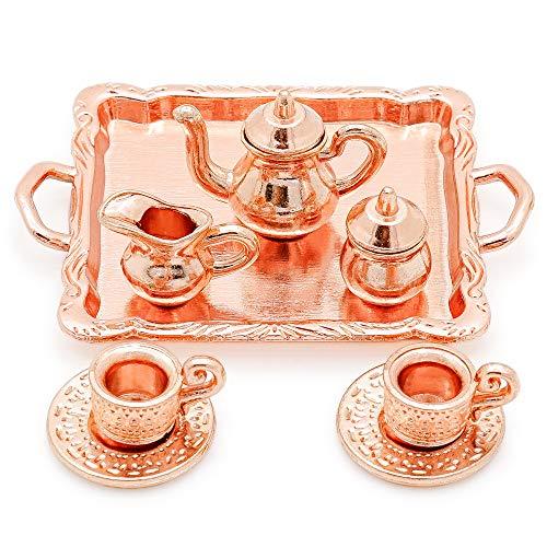 Odoria 1/12 Miniatur Geschirr 8 Stück Kupfer Kaffeeservice Teetassen Kessel und Servierplatte...