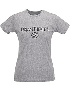 LaMAGLIERIA Camiseta Mujer Slim Dream Theater Black Print - T-Shirt Rock Metal 100% Algodòn Ring Spun