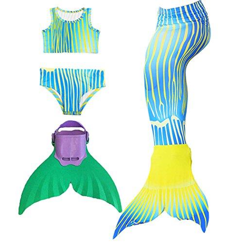 3STEAM Mädchen Bikini Badeanzüge Meerjungfrauenschwanz Zum Schwimmen mit Meerjungfrau Flosse Schwimmen Kostüm Schwanzflosse, N-blau Gelb - 10 (120-130cm)