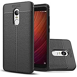 Jotech® Leather Textured Autofocus Soft Back Case Cover for Xiaomi Redmi Note 4 (Black)