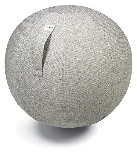 VLUV STOV Stoff-Sitzball SBV-002.65CCO, ergonomisches Sitzmöbel für Büro und Zuhause, Farbe: Concrete (Hellgrau), Ø 60cm - 65cm, Hochwertiger Möbelbezugsstoff, Robust und formstabil, mit Tragegriff