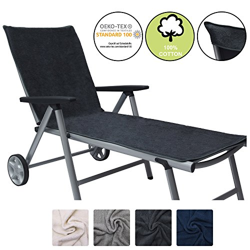 Beautissu XL Lounger Towel Marbella 70x200cm with Hood No Sliding Extra Large Sun Lounger Beach Towel for Sunbathing…