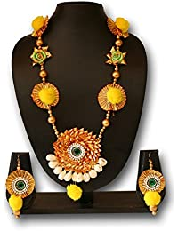 The Peacock Studio Gotta Flower Yellow Pompom Green Rose Jewellery Set With Earrings