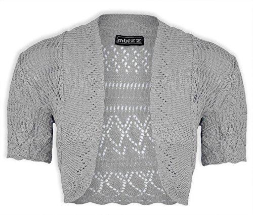 Janisramone femme Boléro shrug crochet tricot cardigan taille 8-24 Argenté