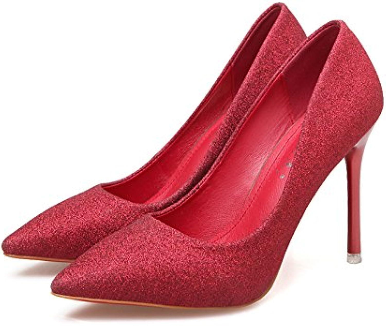 Wild tacones con punta fina plata , y boda wedding shoes zapatos de mujer ,40, Rojo 10 cm.