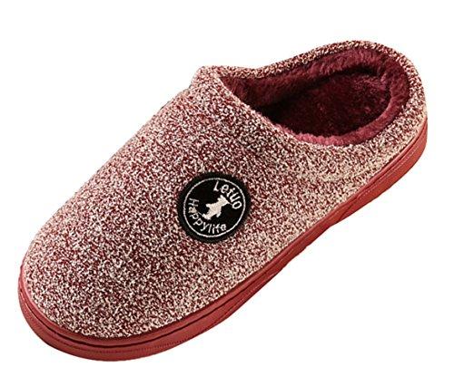 Icegrey Chausson Pantoufles pour Hommes Femmes Mode Tricot Doux Peluche En Molleton Doublé En Intérieur Maison Chaussons Vin rouge