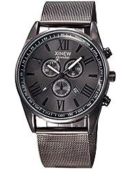 Reloje Hombres,Xinan Reloj de Pulsera de Acero Inoxidable de Cuarzo Analógico (Negro1)