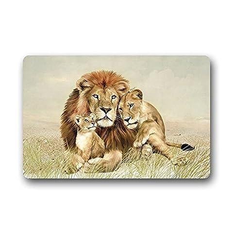 Tslook Fashions Paillasson Lion Famille trois Lions Intérieur/extérieur/Front Welcome Paillasson (59,9x 39,9cm, L x l)