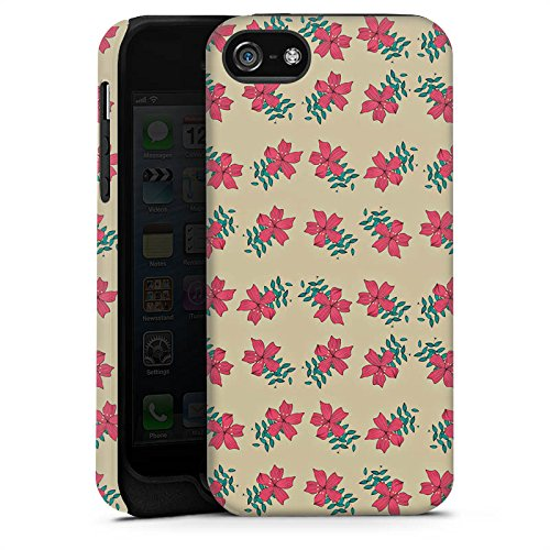 Apple iPhone X Silikon Hülle Case Schutzhülle Blumen Muster Retro Tough Case matt