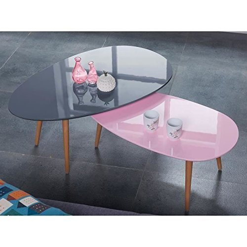 STONE01 Table basse style scandinave en MDF laqué rose brillant - L 88 x l 48 cm