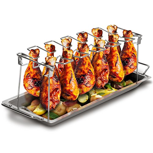 518Urde3u3L - Grill Republic Premium Hähnchen-Halter (BBQ-Rack) I Hähnchenschenkelhalter aus Edelstahl für bis zu 12 Keulen l Platzsparendes Grillzubehör als optimales Geschenk für Grillfans