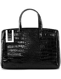 Amazon.fr   sac noir cuir facon croco - Femme   Sacs   Chaussures et ... f28460a5541