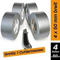 Hinrichs 4 Rollos de Cinta Americana 50m, Cinta Adhesiva, Plata - para Interiores y Exteriores - 50 m x 50 mm - cúter Gratis
