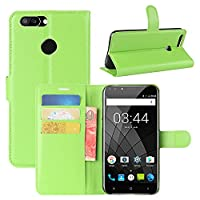 Oukitel U22 Case, HualuBro [All Around Protection] Premium PU Leather Wallet Flip Phone Protective Case Cover with Card Slots for Oukitel U22 Smartphone (Green)
