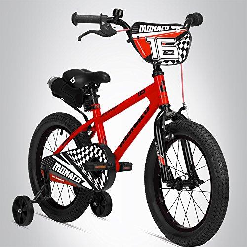 Bergsteiger Monaco 16 Zoll Kinderfahrrad, geeignet für 4, 5, 6 Jahre, BMX, Stützräder, Rücktrittbremse, Trinkflasche, Kettenschutz