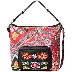 Desigual - Bag Folklore Cards Olesa Women, Shoppers y bolsos de hombro Mujer, Negro, 14x32.5x31 cm (B x H T)