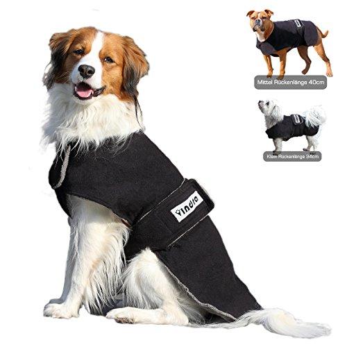 VINDRA Hundebademantel Fleece - Hundemantel - 3 Größen - Hals und Brust verstellbar (53cm Rückenlänge)