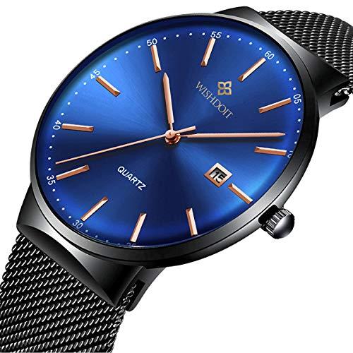 Herren Uhren Luxus Mode Wasserdicht Sport Edelstahl Mesh Armband Blau Uhren Manner Analog Quarz Dünn Armbanduhr Militär-Gents Kleid Schwarz Datum Uhr
