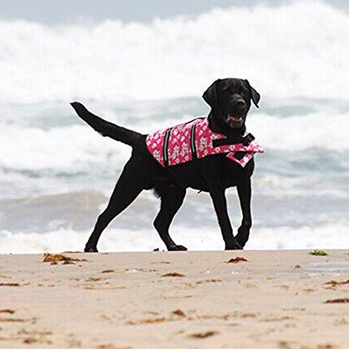 Eizur Hunde Einstellbar Rettungsweste Reflektierend Schwimmweste Hundeweste Retter Blume Gedruckt Schwimmhilfe Warnweste Quick Release per Hund Sicherheit & Ausbildung Größe XS - Rosa