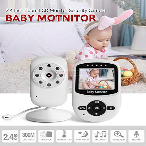 Video Baby Monitor mit Full Color LCD-Bildschirm, Auto Night Vision, Two Way Talk Back, Zoom-in, Power Saving/VOX (Voice Activation), Long Range und Big Battery Power-zoom-auto