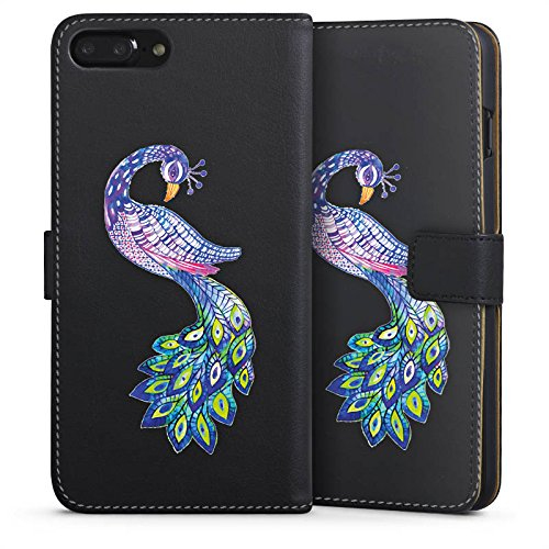 Apple iPhone 7 Silikon Hülle Case Schutzhülle Pfau ohne Hintergrund Feder Sideflip Tasche schwarz