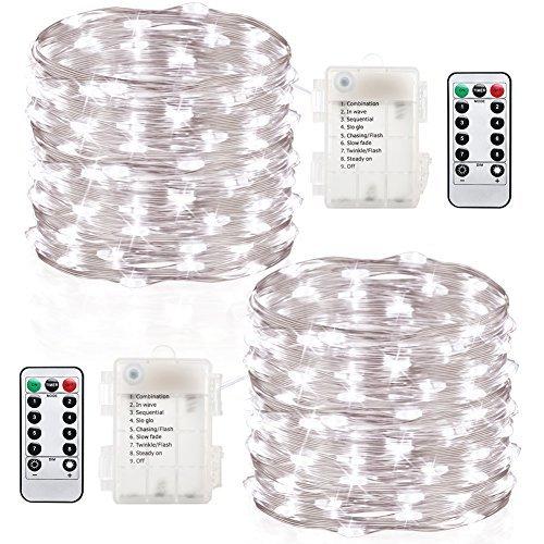 hterkette Außen 6M 60 LEDs Lichterkette mit Batterie 8 Modi Wasserdicht IP65 Kupferdraht mit Fernbedienung und Timer für Weihnacht , Hochzeit, Party, Garten und Haus Deko (Kaltweiß) (Außen Haus Dekor)