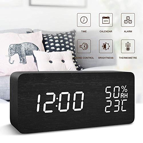 FONCBIEN Reloj Despertador Digital, Indicador De Temperatura De La Fecha Pantalla Led Reloj De Madera...