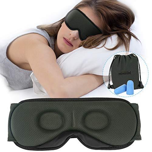 Hommini Schlafmaske für Damen und Herren, 3D-konturierte Augenmaske zum Schlafen, atmungsaktiver Memory-Schaum, weich und bequem, 100% Block-Augenmaske für Reisen inklusive Tragetasche Ohrstöpsel