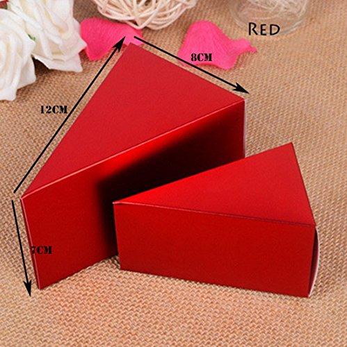 50pz fette creare torta bomboniera portaconfetti scatola cono coni fai da te eventi (grande 12*8*7cm, rosso)