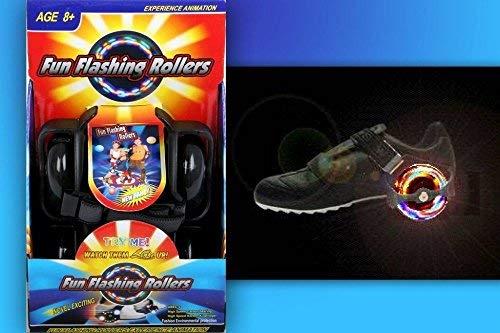 TE-Trend Fersenroller LED Flashroller Street Gliders Rollen Schuhe Kinder Mädchen Jungen LED Schuhe 80kg schwarz
