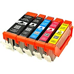 5 Logic-Seek LS-PGI550XL LS-CLI551XL Druckerpatronen MIT CHIP und Füllstandanzeige für Canon Pixma iP7250, MG5450, MG6350, MX725, MX925, kompatibel zu PGI550BK , CLI551C , CLI551M, CLI551Y und CLI551BK