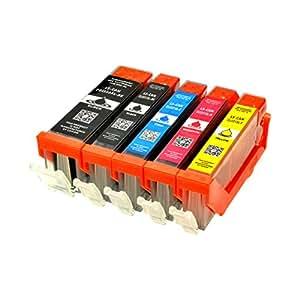 5 Logic-Seek® LS-PGI550XL LS-CLI551XL Druckerpatronen MIT CHIP und Füllstandanzeige für Canon Pixma iP7250, MG5450, MG6350, MX725, MX925, kompatibel zu PGI550BK , CLI551C , CLI551M, CLI551Y und CLI551BK