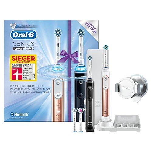 Oral-B Genius 9900 Elektrische Zahnbürste, mit 4 Aufsteckbürsten, 2 Handstücken und Reise-Etui, schwarz/rose gold