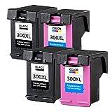 ETI Consumables Compatible Ink Cartridge 300XL Replace for HP Deskjet C4680 C4780 D1660 D2530 D2560 D2660 D5560 F2410 F2480 F4240 F4260 F4280 F4480 (2x Black 2x Colour)