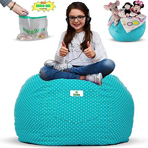 Kroco Luxury Edition Sitzsack für Stofftiere, zur Aufbewahrung von Spielzeug, Sitzsack, Ersatznetz, für Decken/Kissen, Grau blaugrün