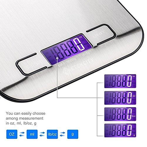 Etekcity EK6015 Báscula Digital para Cocina de Acero Inoxidable  5kg / 11 lbs  Balanza de Alimentos Multifuncional  Peso de Cocina  Color Plata (Baterías Incluidas)