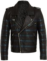 Cazadoras Biker de Cuero para Hombres, Chaquetas Negras de Piel Genuina de Calidad Excepcional, Cazadora Estilo Fashion Vintage Rock, Ropa Moda Urbana, Cool Casual, S M L XL XXL