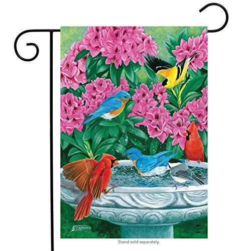 ASKYE Splish Splash Birdbath Spring Garden Flag Birds Floral for Party Outdoor Home Decor(Size: 28inch W X 40inch H) -