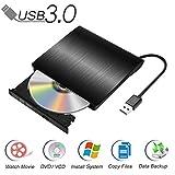 Externes CD DVD Laufwerk USB 3.0, Qibaok CD DVD-RW Brenner Laufwerk für Windows Vista/XP/7/8/10 / Mac OS, Macbook Pro / Air Desktop Notebook - Schwarz