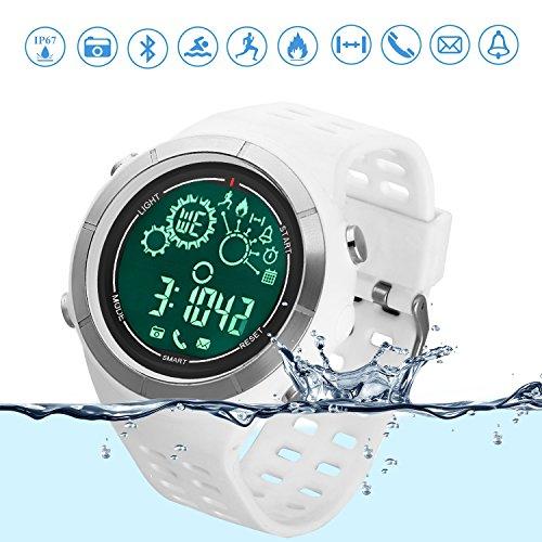 Sport-Smartwatch Bluetooth Lauf-Uhr Schwimm-Tracker IP67 Wasserfest Ferngesteuerte Kamera Bluetooth-Uhr Schrittzähler für Android und IOS Smartphone Weiß